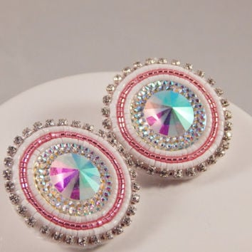 Pink White Beaded Earrings, pow wow beadwork, resin - fancy jingle traditional ladies dancer - Native American Metis made - rhinestone