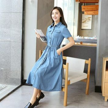 Women Blue Denim Cotton Dress with Buttons Female Short Sleeve Long Summer High Waist Slim T Shirt Dress Girls Lace Up One-piece
