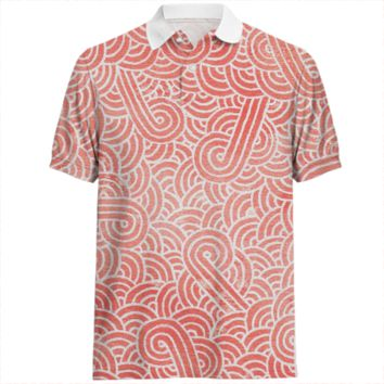 Peach echo and white swirls doodles Polo Shirt