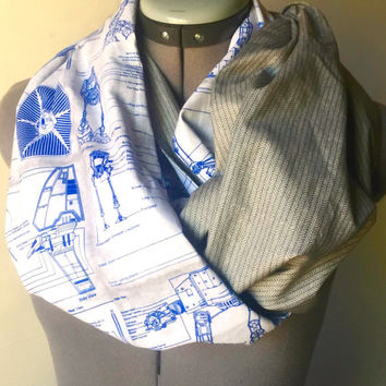 Star Wars Blue Prints Infinity Scarf, Circle Scarf, Fashion Scarf, Nerd Accessory, Geek Chic,Disney,Gift,Present,Hipster,AtAt,Death Star