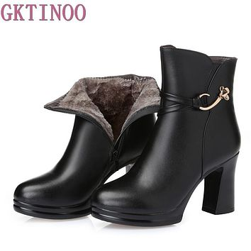 Women Platform Ankle Boots Round Toe High Heels Winter Shoes Woman Genuine Leather Boots Ladies Autumn Boots