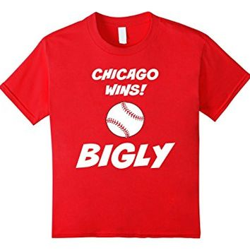Kids Chicago Wins Bigly Baseball Shirt 4 Red