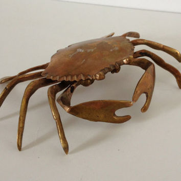 Vintage Brass Crab Ashtray or Trinket Box