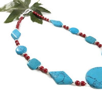 Turquoise Magnesite and Red and Silver Glass Bead Necklace