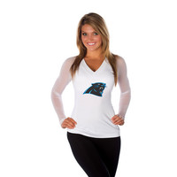 "Carolina Panthers Women's Official NFL ""Wildkat"" White Top"
