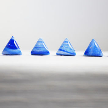 Blue and White Triangle Earrings, Polymer Clay Jewelry, Nickel Free Jewelry, Gifts For Her