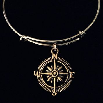 Compass On A Gold Expandable Bangle Bracelet Meaningful Gift Direction Travel