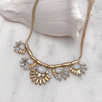 Statement Necklace Set In Gold Tone with White Stones