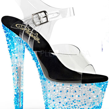 Neon Blue 7 Inch Stripper Shoes With Ankle Strap