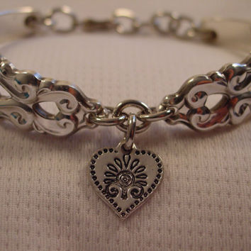 A Beautiful Spoon Bracelet King Fredrick Pattern With Heart Charm Antique Spoon and Fork Jewelry b67