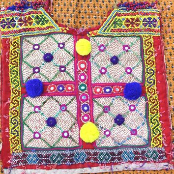 Vintage Banjara neck yoke Hand embroidered Mirror work Old Fabric to Decorate Your Clothing and Interior Handmade and Vintage