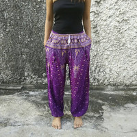 Yoga Exercise Pants Boho hobo Style Print Hippies Gypsy Plus Size Rayon Aladdin Clothing Peacock print Beach Summer Harem Chic Baggy Purple
