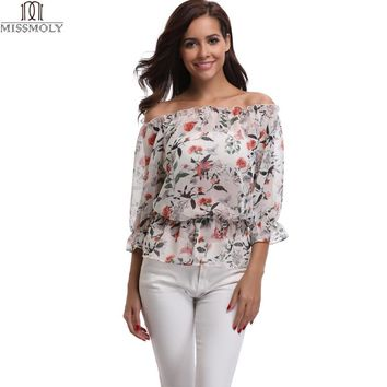 MISS MOLY Women's Off Shoulder Sheer Fashion Casual Floral Print T-Shirt Tops Bohemian Boat Neck Ruched Front raglan Top