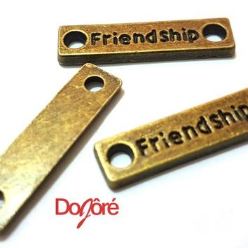 Pack of 10 Flat Bronze ' FRIENDSHIP ' Charms. 22mm x 5mm. Brown Connector Pendants. Unique Jewellery Making, Macrame Bracelets & Necklaces