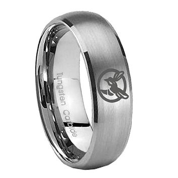 8MM Classic Satin Silver Dome Honey Bee Tungsten Laser Engraved Ring