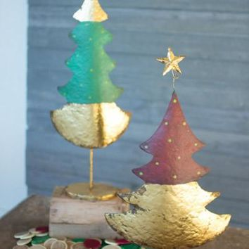 Set Of 2 Christmas Trees - Green Red & Gold