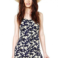 Floral Printed Slim High Waist Chiffon A-Line Playsuits