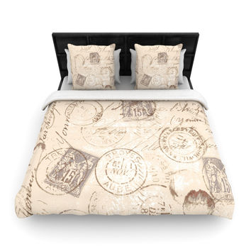 "Heidi Jennings ""World Traveler"" Brown Woven Duvet Cover"