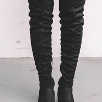 Above The World Black Thigh High Boots