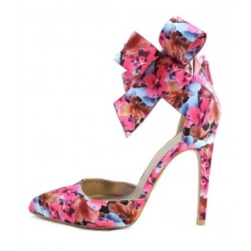 Qupid Virtue-32 Floral Side Bow Pointy Pumps wowtrendz