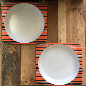 2 x Vintage 1960s Funky Retro Bessemer Europa Square Melamine Plates / Bright Orange Plastic Plates / Bowls / BBQ Plates / Made in Australia