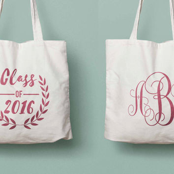 Class of 2018 graduation monogram tote for college/high school graduation
