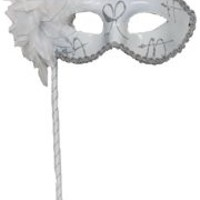 White Plastic Sequin Masquerade Mask on a Stick with a Flower On The Side
