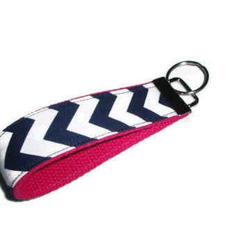 Navy Blue Chevron with Pink Wristlet Keychain by xoribbons on Etsy