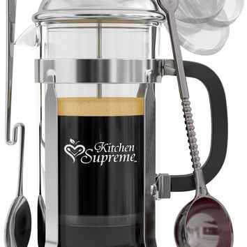 French Press Coffee & Tea Maker Complete Bundle | 34 Oz | Best Coffee Press Pot with Stainless Steel & Double German Glass