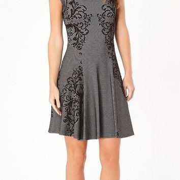 Black Floral Jacquard A Line Dress