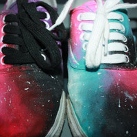 Colorful galaxy hand painted canvas shoes by MelindaShay on Etsy