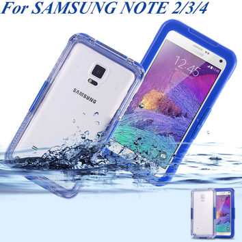 Note2/3/4! Waterproof Swim Case for Samsung galaxy Note 2 3 4 N9000 N910A Clear Front Back TPU PC Cover Accessories Diving Cover