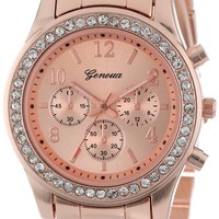 Women's 2362-rosegold-GEN Cubic Zirconia-Accented Rose Gold-Tone Watch