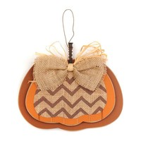 Brown Burlap & Chevron Pumpkin Plaque | Kirklands