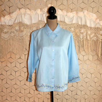 Powder Blue Linen Blouse 3/4 Sleeve Embroidered Shirt Button Up Blouse Spring Summer Casual Blouse Size 16 1X XL Women Plus Size Clothing