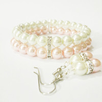 Bridal Jewelry / Pearl Bridal Jewelry Set / Bridesmaid Bracelet and Earring Set / Pastel Pink Wedding Jewelry Set / Pink Wedding