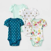 Baby Girls' 4pk Short Sleeve Bodysuit Mint/Blue - Cloud Island™