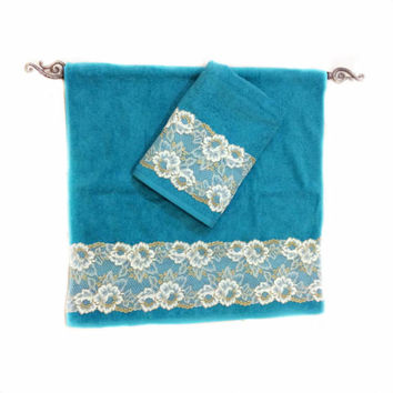 Decorative Sky Blue towel Set of 2 Lace Decorated towel set Housewarming Gift  New Home Bathroom Decor for Girls Outdoor Sauna Towel Set