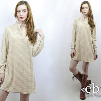 Vintage 70s Beige Terrycloth Mini Dress M Boho Dress Hippie Dress Hippy Dress Summer Dress Beach Dress Terry Dress Terrycloth Dress
