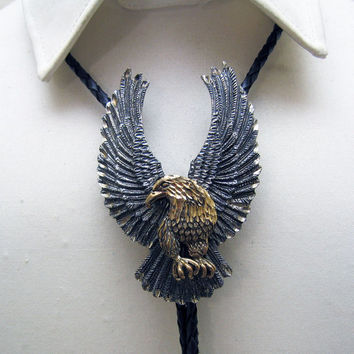 Way Over the Top Vintage Huge Sterling Silver and Gold Vermeil Proud Eagle Bolo Tie by OTT