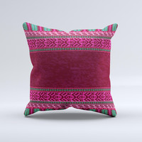 Glowing Green & Pink Ethnic Aztec Pattern Ink-Fuzed Decorative Throw Pillow