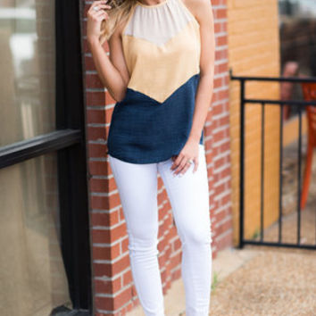 Live And Lovely Tank, Peach-Navy