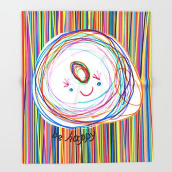 Be Happy | Smile | Stay Child | Kids Painting Throw Blanket by Azima