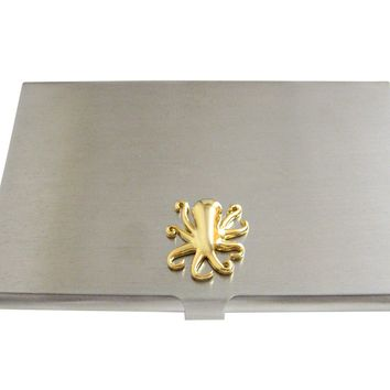 Gold Toned Octopus Business Card Holder
