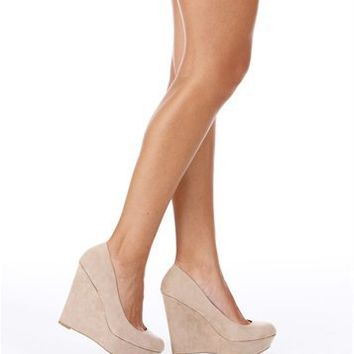 Taupe Suede Wedges