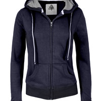 LE3NO Womens Premium Zip Up Fleece Hoodie Jacket (CLEARANCE)