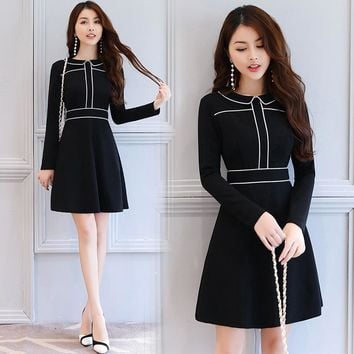 Debowa Fashion Sweet Dress Women 2017 New Autumn Women Dresses Long Sleeve Peter Pan Collar Slim Princess Dress School Dress