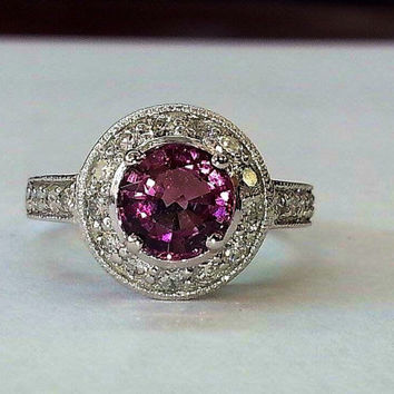 18k whitegold tourmaline halo ring