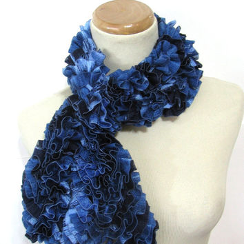 Blue Hand Knit Ruffled Scarf