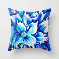 Blue abstract floral painting.  Throw Pillow by Kristy Patterson Design